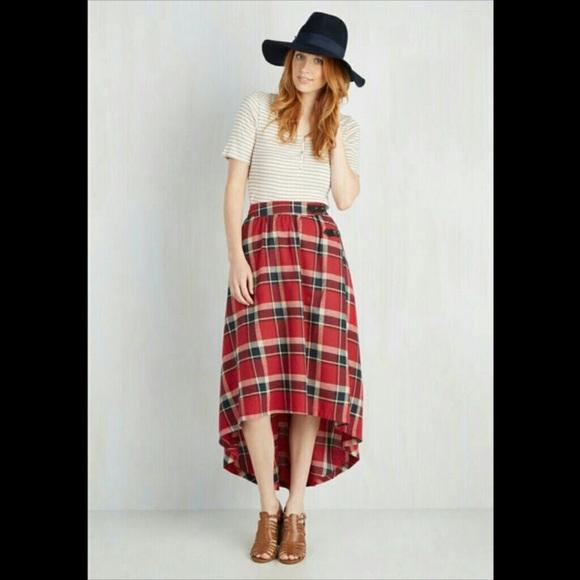 5cb14b75449942 ModCloth Plaid High Low Skirt. M_5c37fc69619745cd1816a3ba